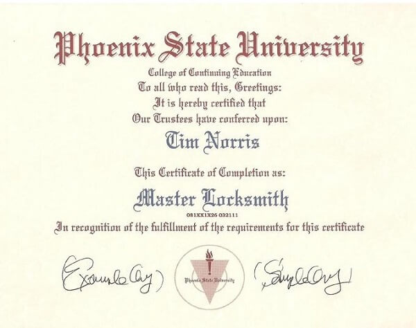 Locksmith Certificate