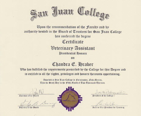 veterinary assistant certificate