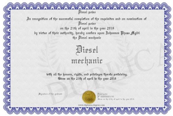 diesel mechanic certificate example
