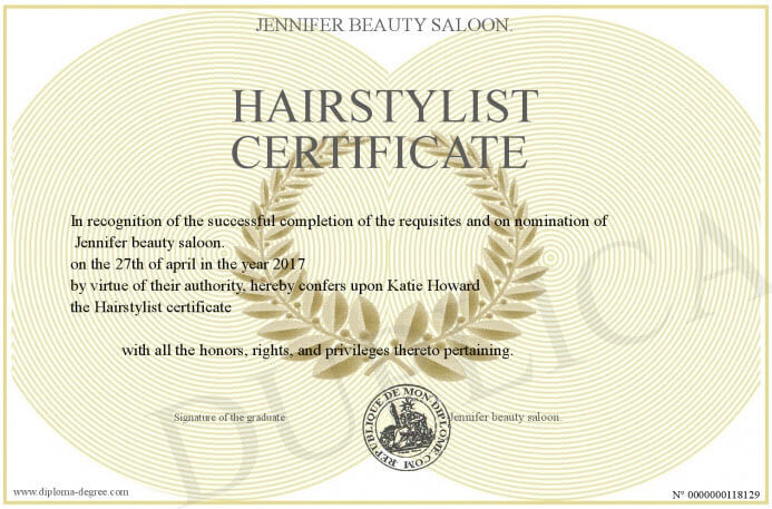 hair stylist certificate example