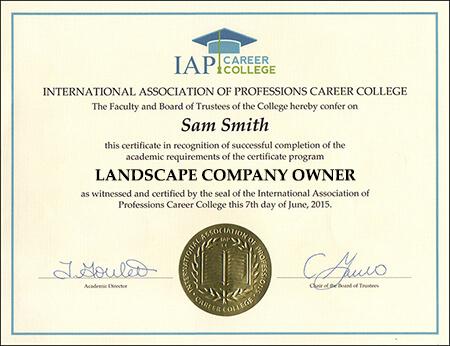 landscaper certificate example