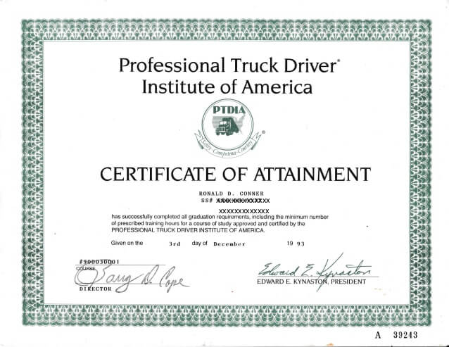 truck driver certificate example