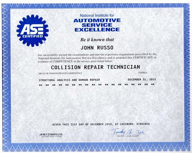 auto mechanic certification