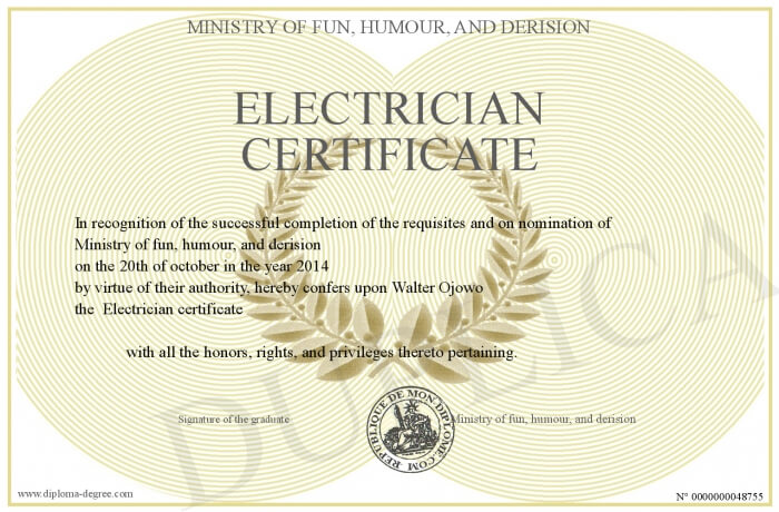electrician certificate example