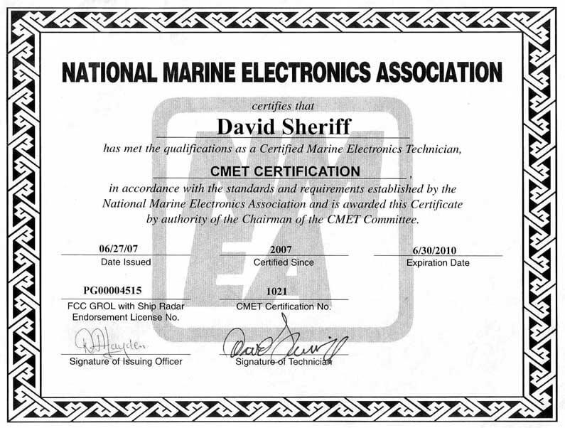 marine technician certificate