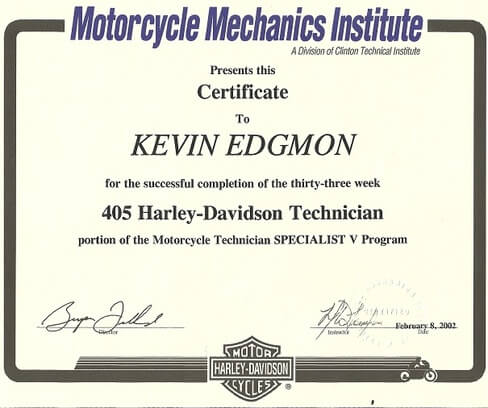 motorcycle mechanic certificate