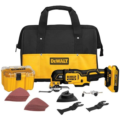 Oscillating Tool with a Grout Removal Blade (DEWALT DCS355D1 Multi-Tool Kit)