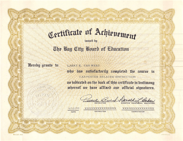 carpenter certificate example
