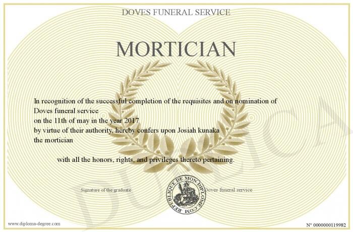 mortician certificate example