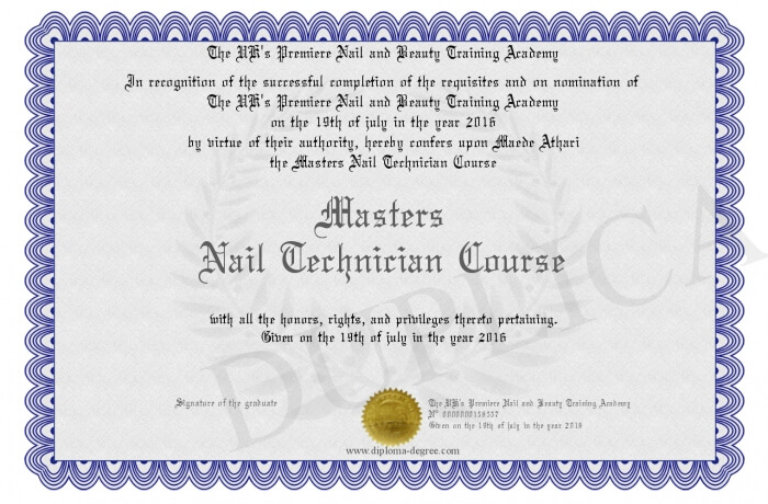 nail technician certificate example