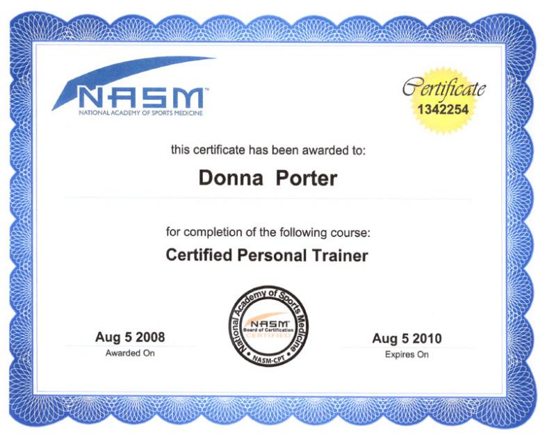 certified personal trainer certification