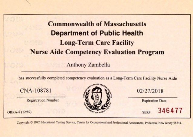 cna certification example