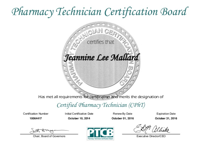 pharmacy technician certificate